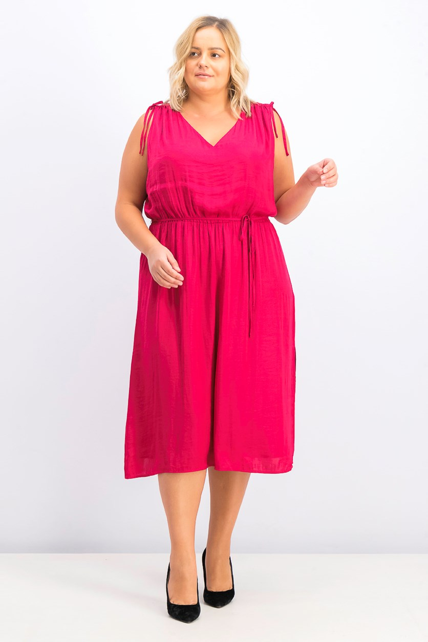 Women's Plus Size Tie Shoulder Dress, Wild Hibiscus