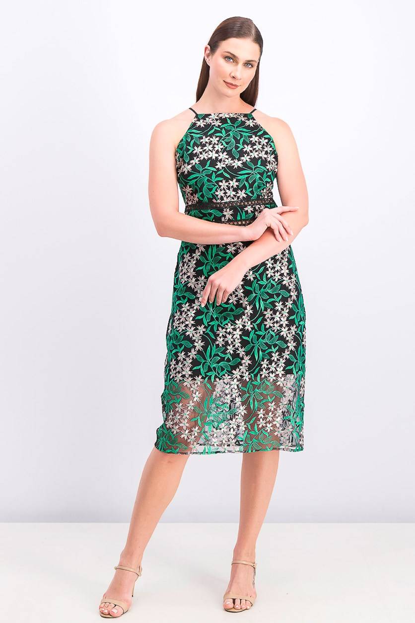 Women's Embroidered Lace Pencil Dress, Pink/Green