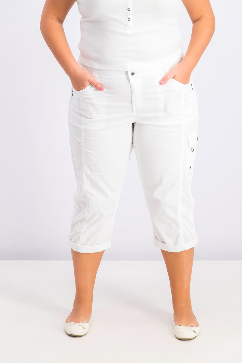 Women's Cropped Cargo Pants, White