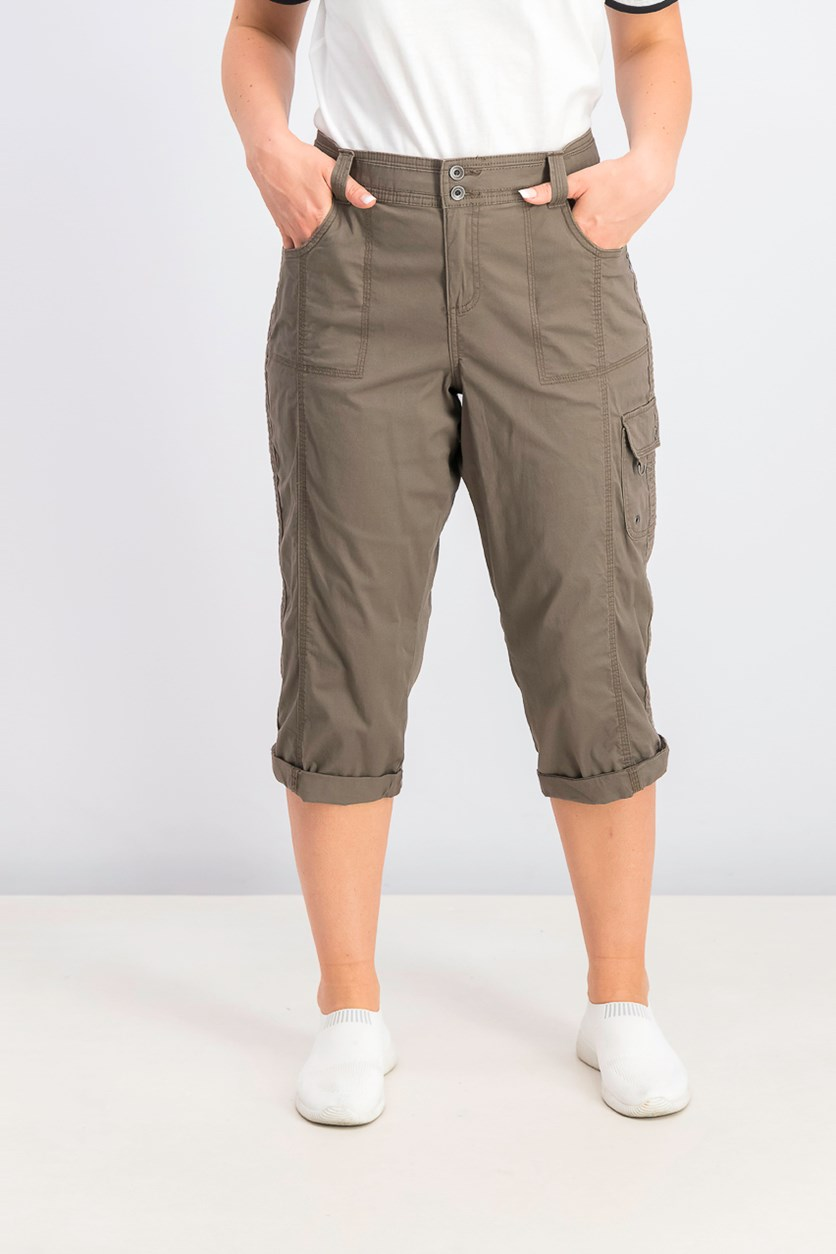 Women's Cropped Cargo Pants, Brown Clay