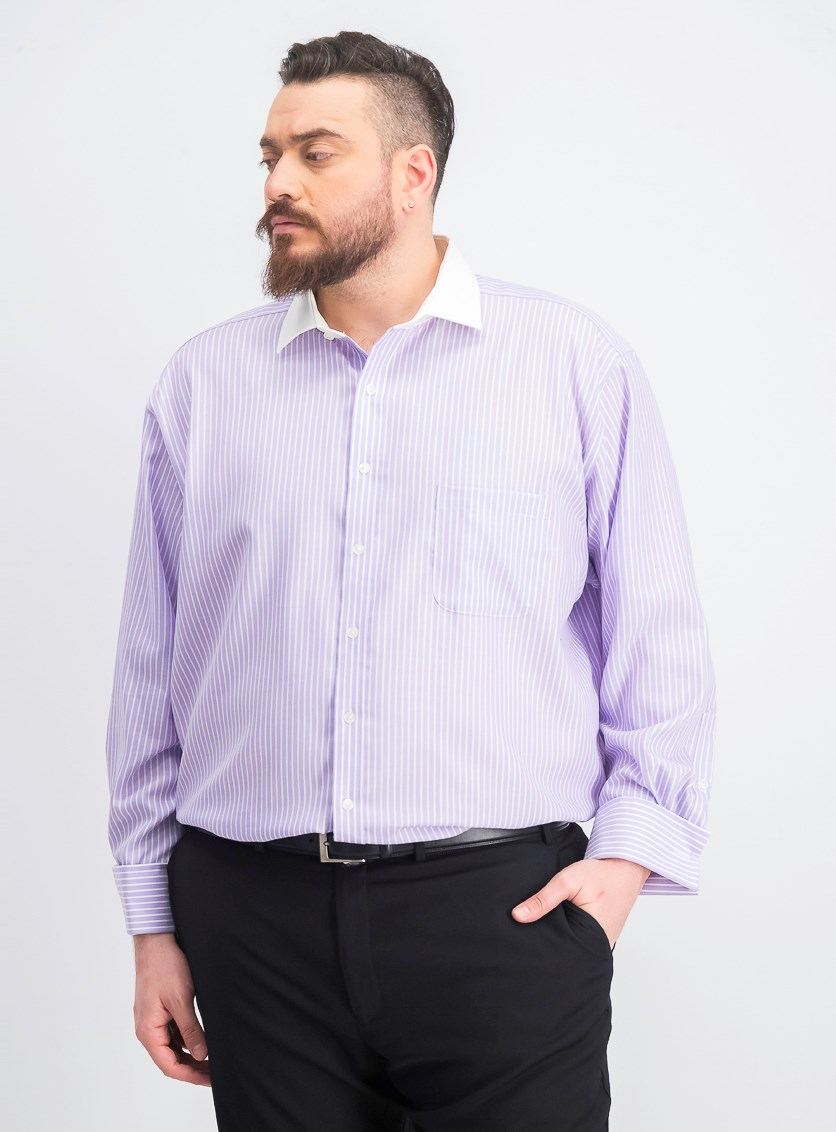 Men's Regular Fit Non-Iron Twill Bar Stripe Dress Shirt, Lavender
