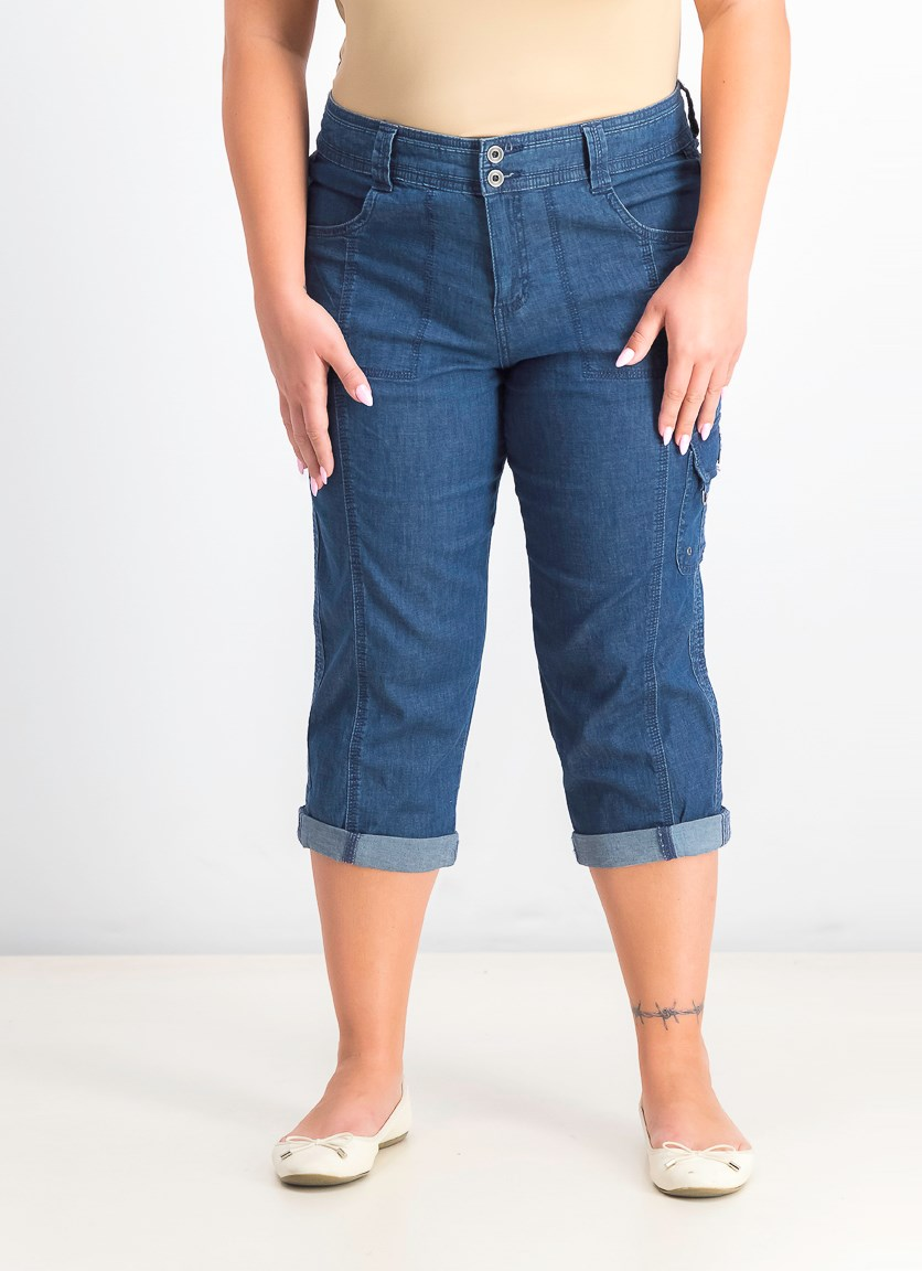 Women's Cropped Cargo Pants, Medium Chambray