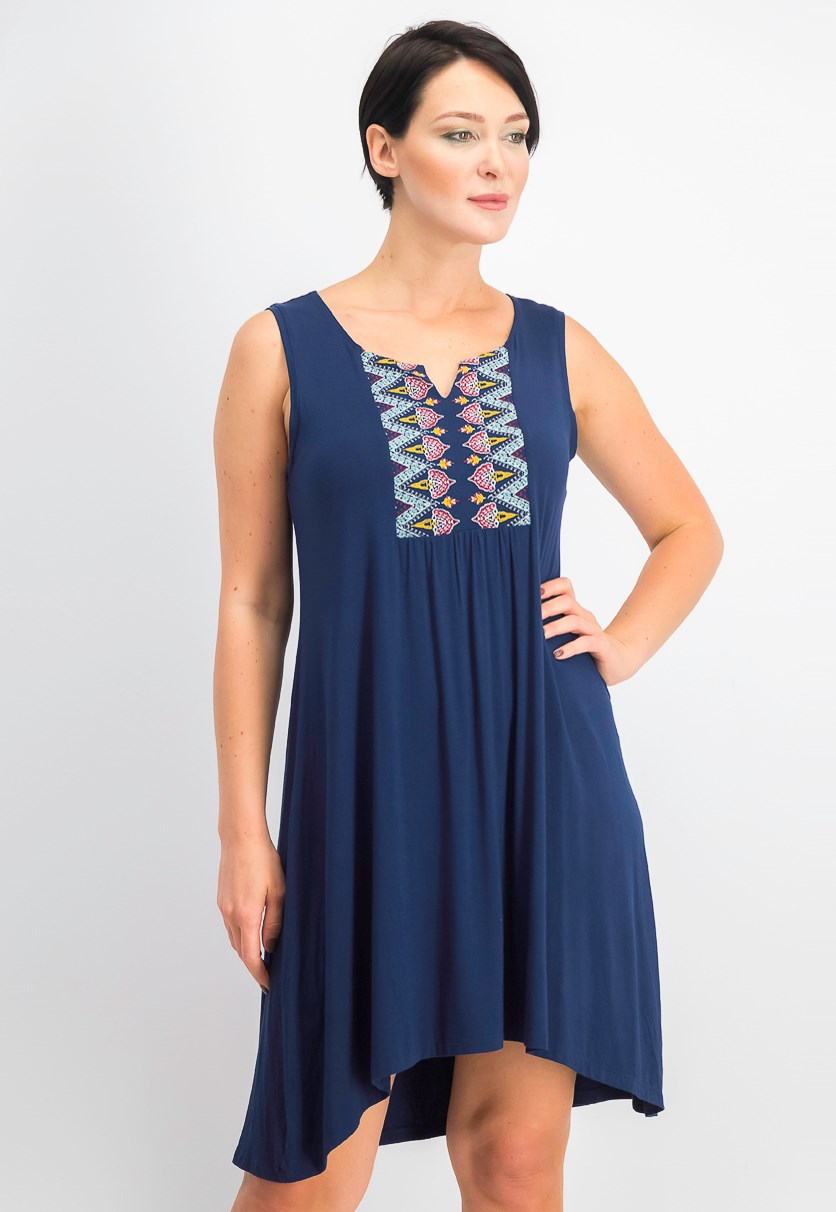 Petite Embroidered High-Low Dress, Industrial Nirvana