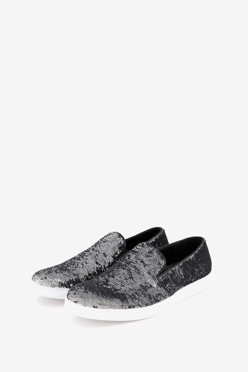 Men's Flash Sequin Slip-On, Silver/Black