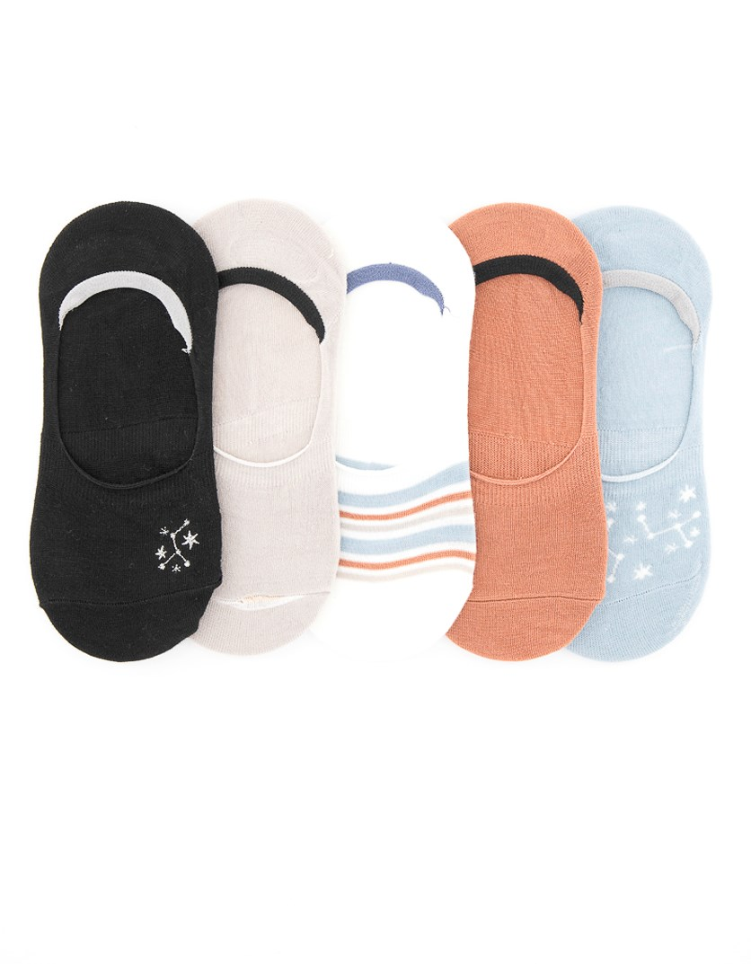 Women's 5-Pack Embroidered Foot Liner, Black/Brown /Grey/White/Blue
