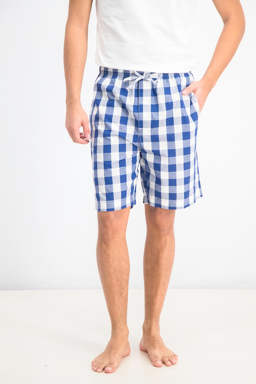 Men's Cotton Woven Plaid Pajama Shorts, Blue Depths