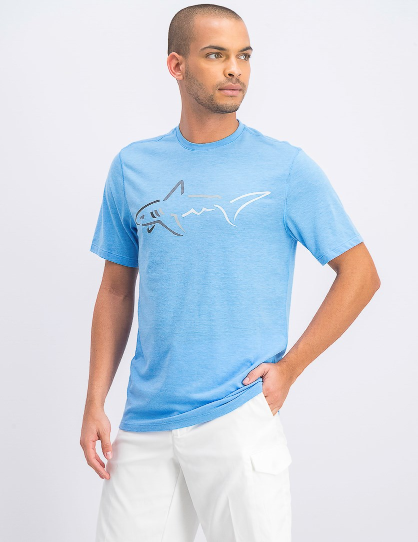 Mens Graphic-Print Cotton T-Shirt, Blue Point
