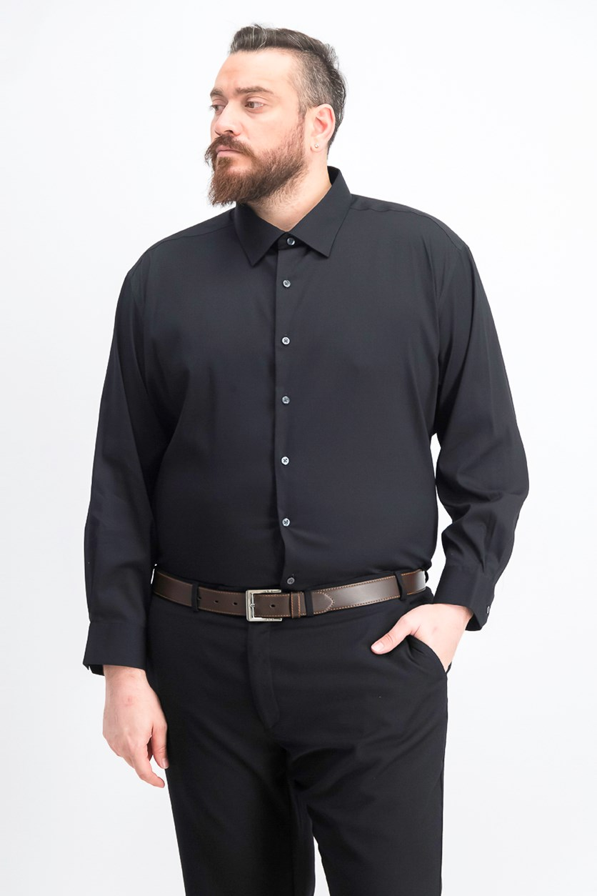 Men's Big & Tall Bedford Cord Dress Shirt, Black