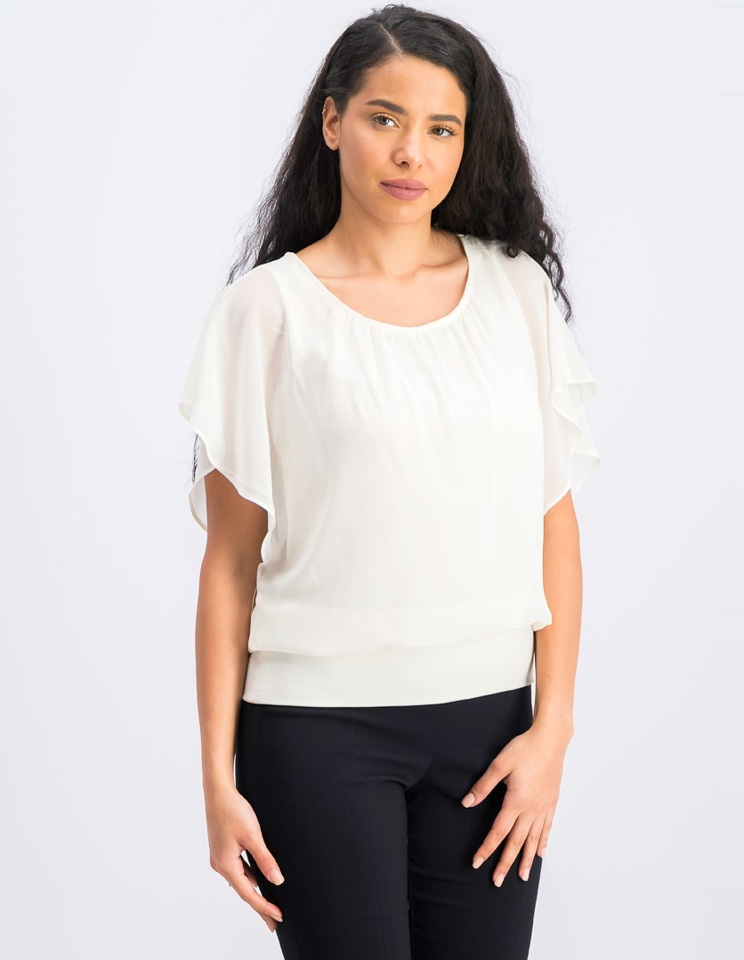 Women's Petite Flutter Sleeve Top, Vintage Cream