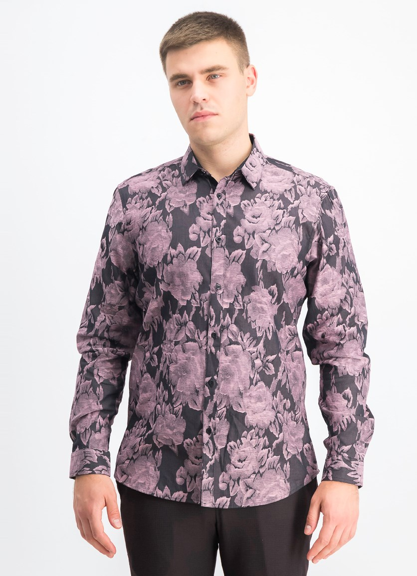 Men's Floral Print Shirt, Black Combo