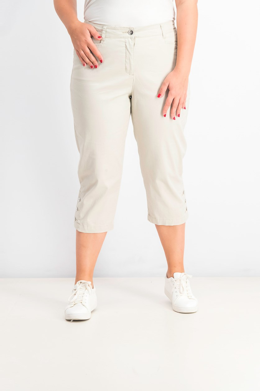 Women's Button-Hem Capri Pants, Stonewall