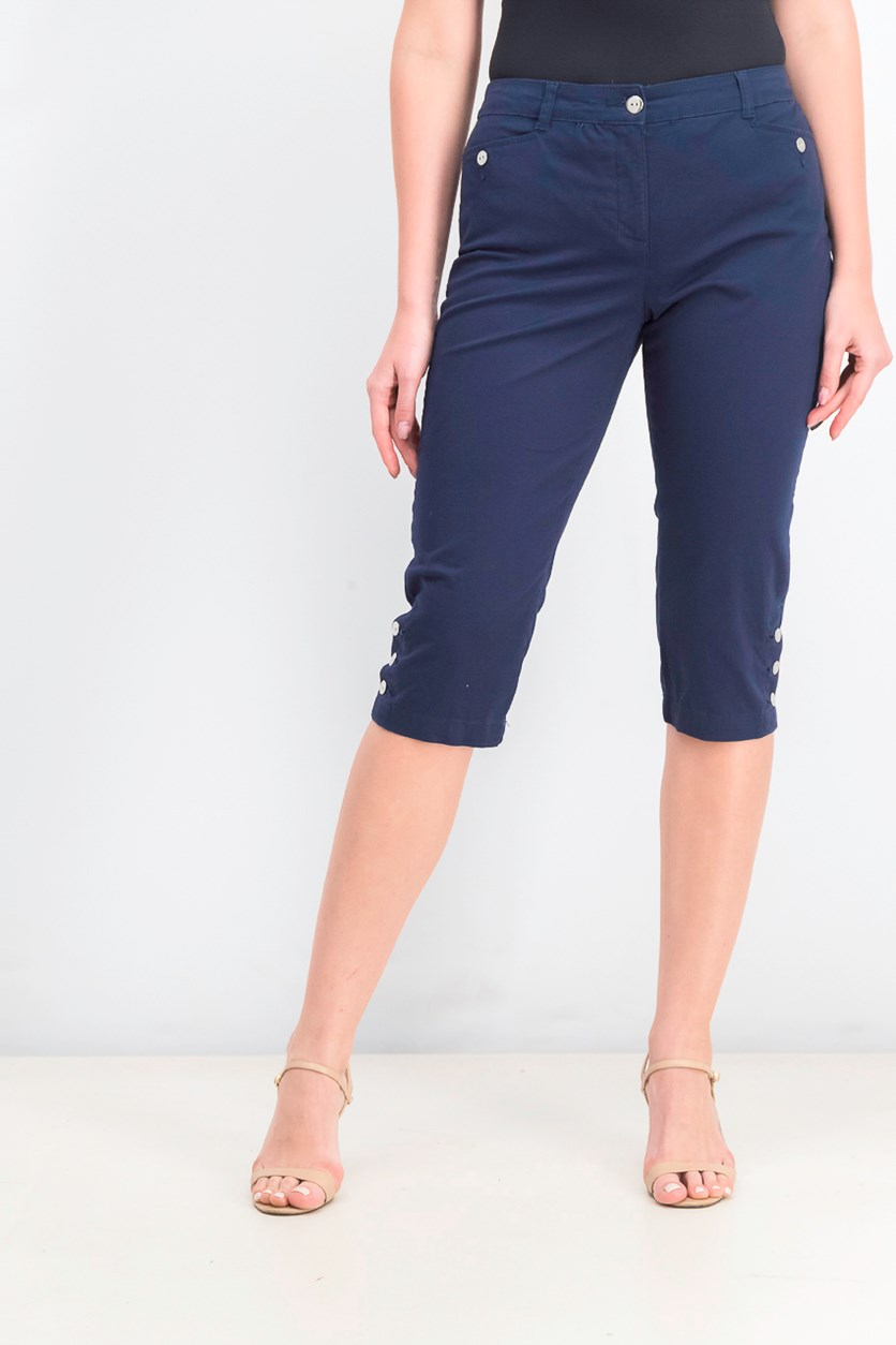 Women,s Petite Button-Hem Capri Pants, Intrepid Blue