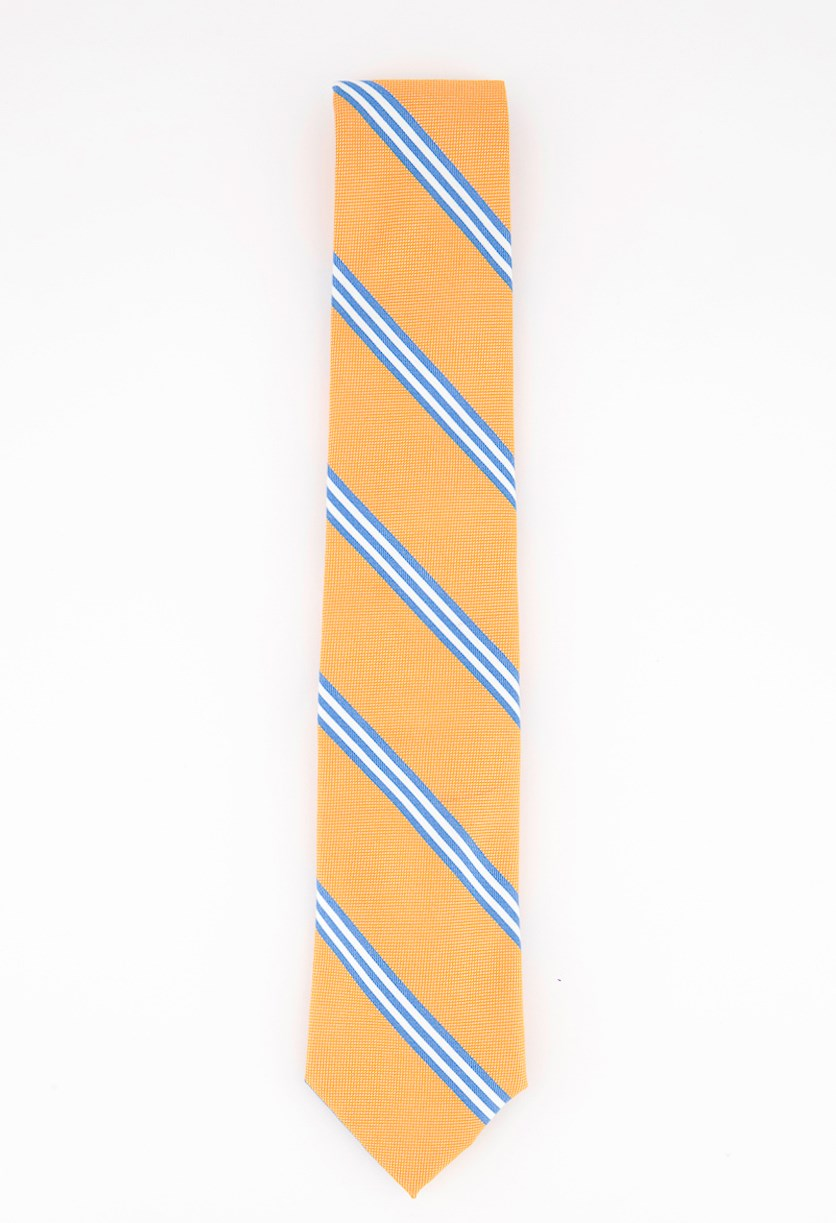 Men's Cranston Stripe Tie, Orange Combo
