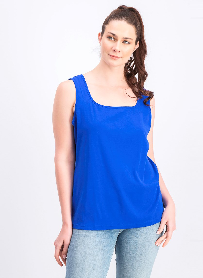 Women's Cotton Square-Neck Tank Top, Ultra Blue