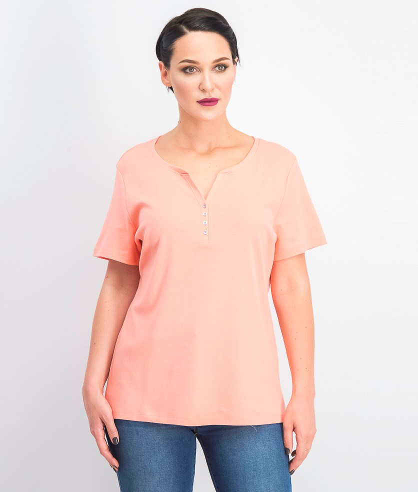 Women's Short Sleeve Henley Top, Coral Lining