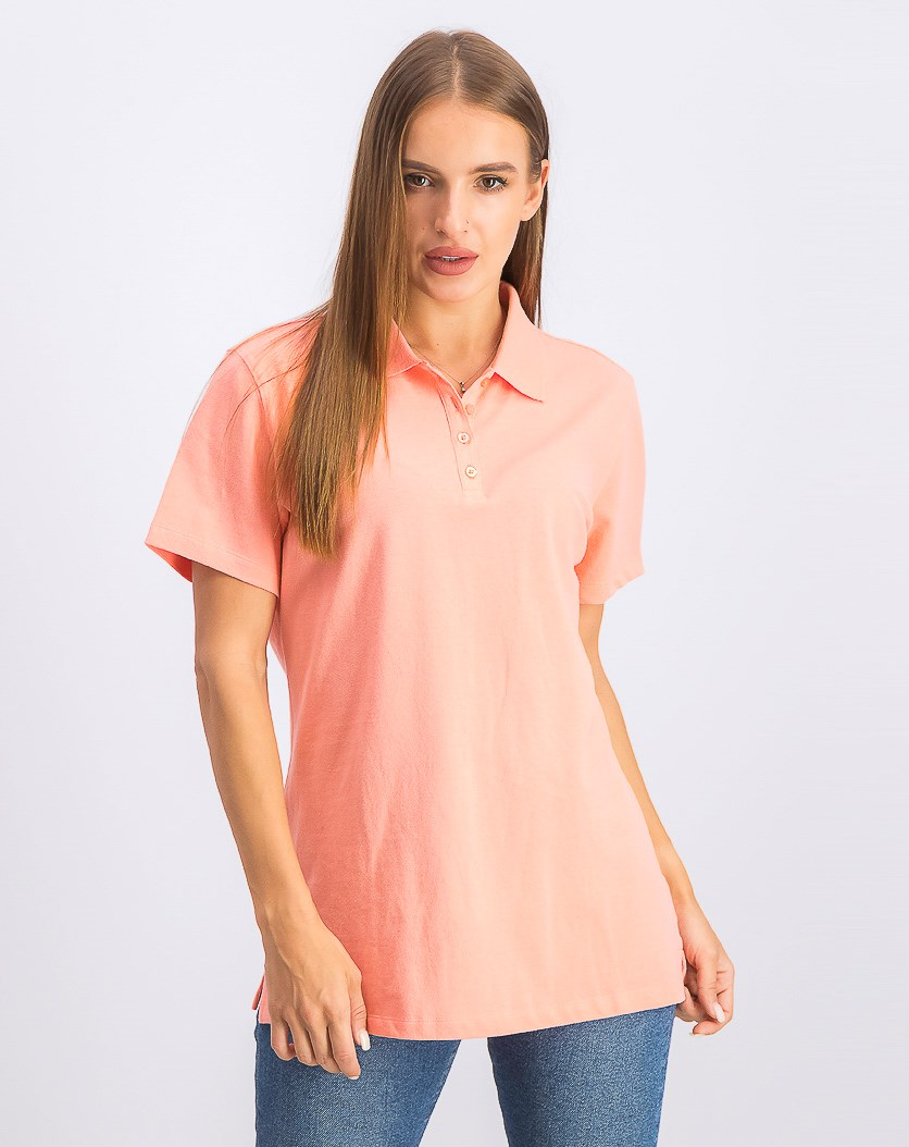 Women's Cotton Pique Polo Top, Coral