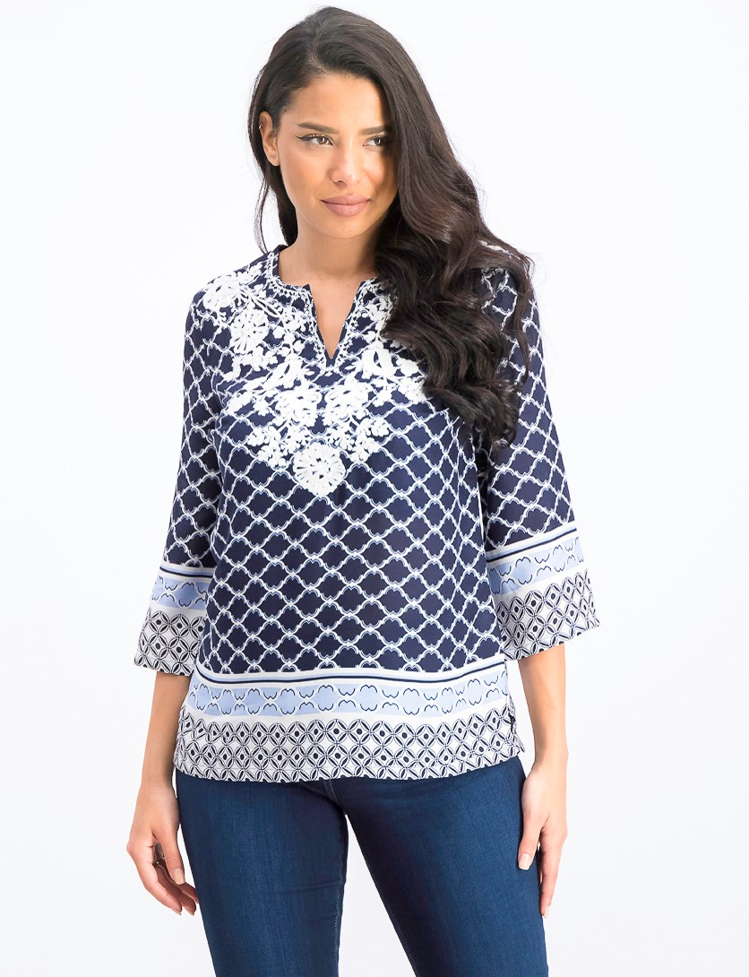 Women's Petite Mixed-Print Split-Neck Top, Intrepid Blue Combo