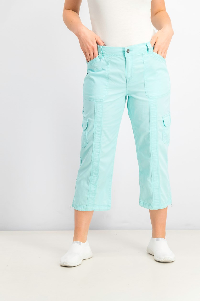 Women's Capri Cargo Pants, Refreshing Teal