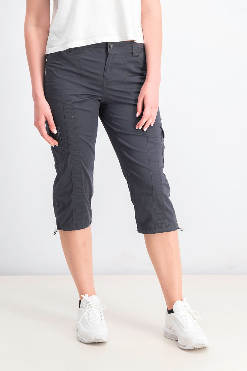 Petite Cargo Capri Pants, Dark Coal