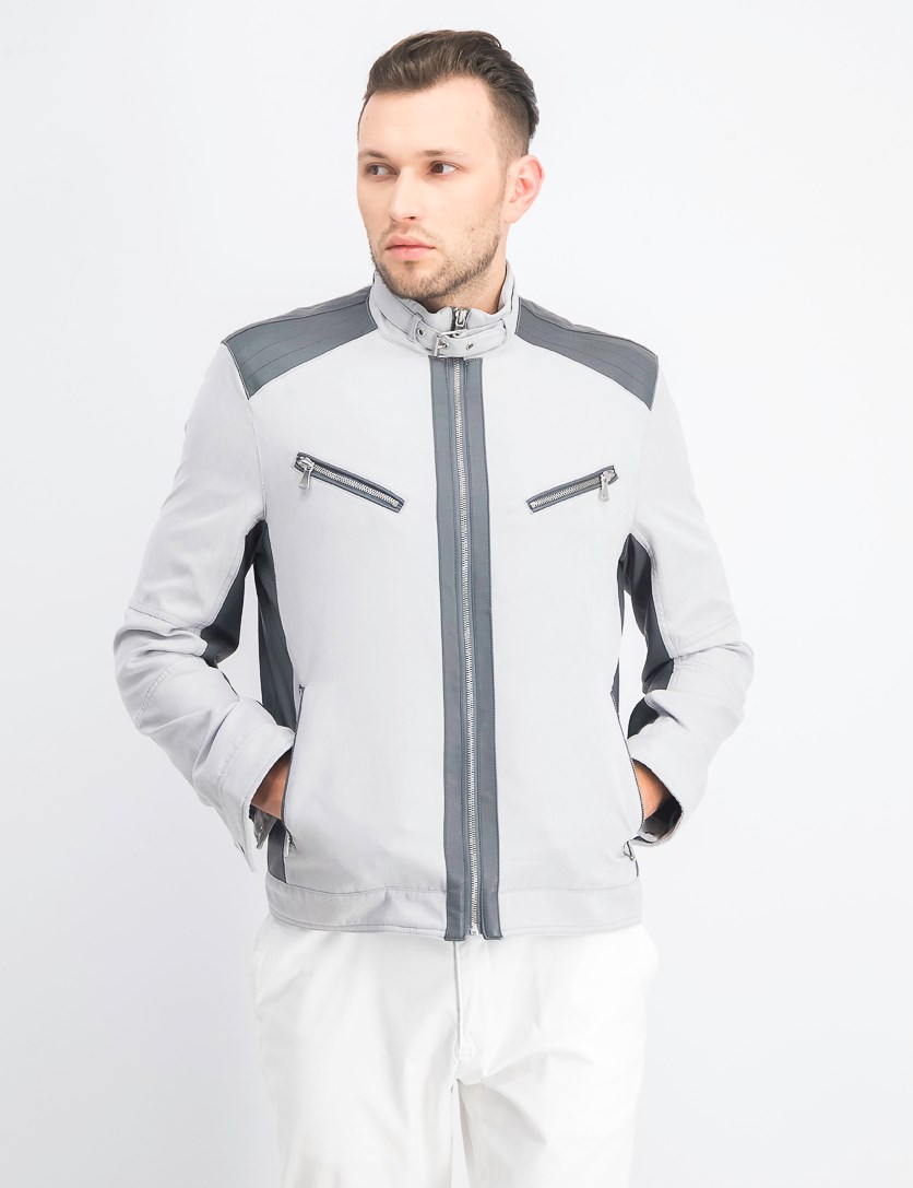 Men's Lasher Moto Jacket, Faded Grey