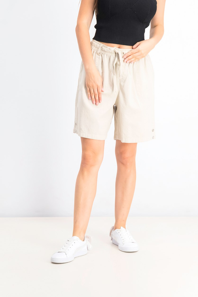 Women's Petite Cotton Pull-On Shorts, Stonewall