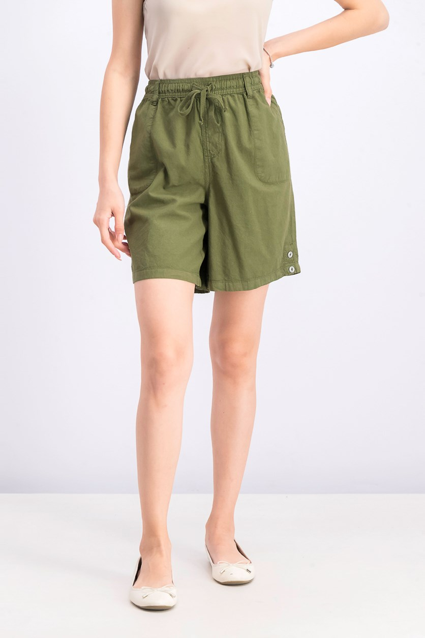 Women's Petite Cotton Pull-On Shorts, Olive Spring