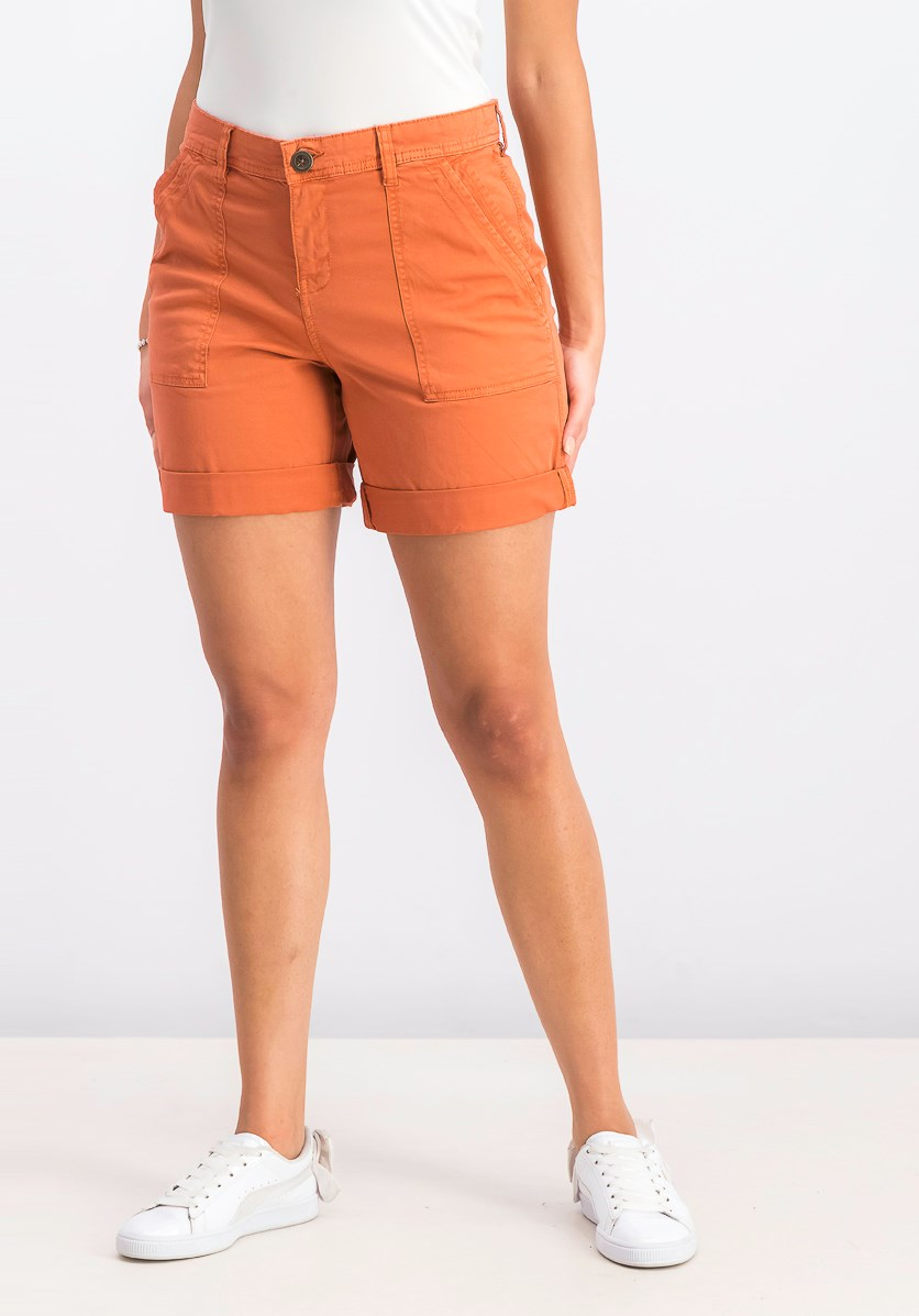 Women's Double-Pocket Cuffed Shorts, Rare Sienna