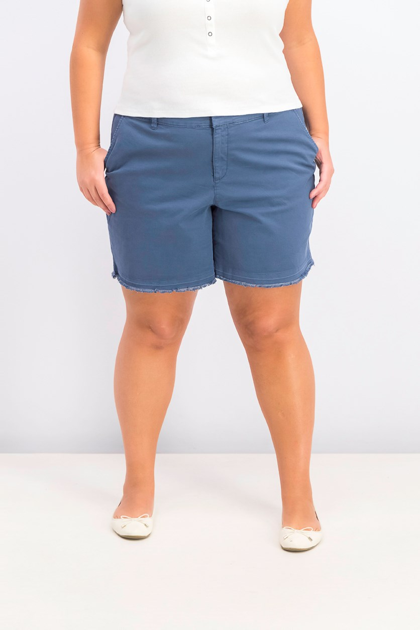 Women's Plus Size Released Hem Shorts, New Uniform Blue
