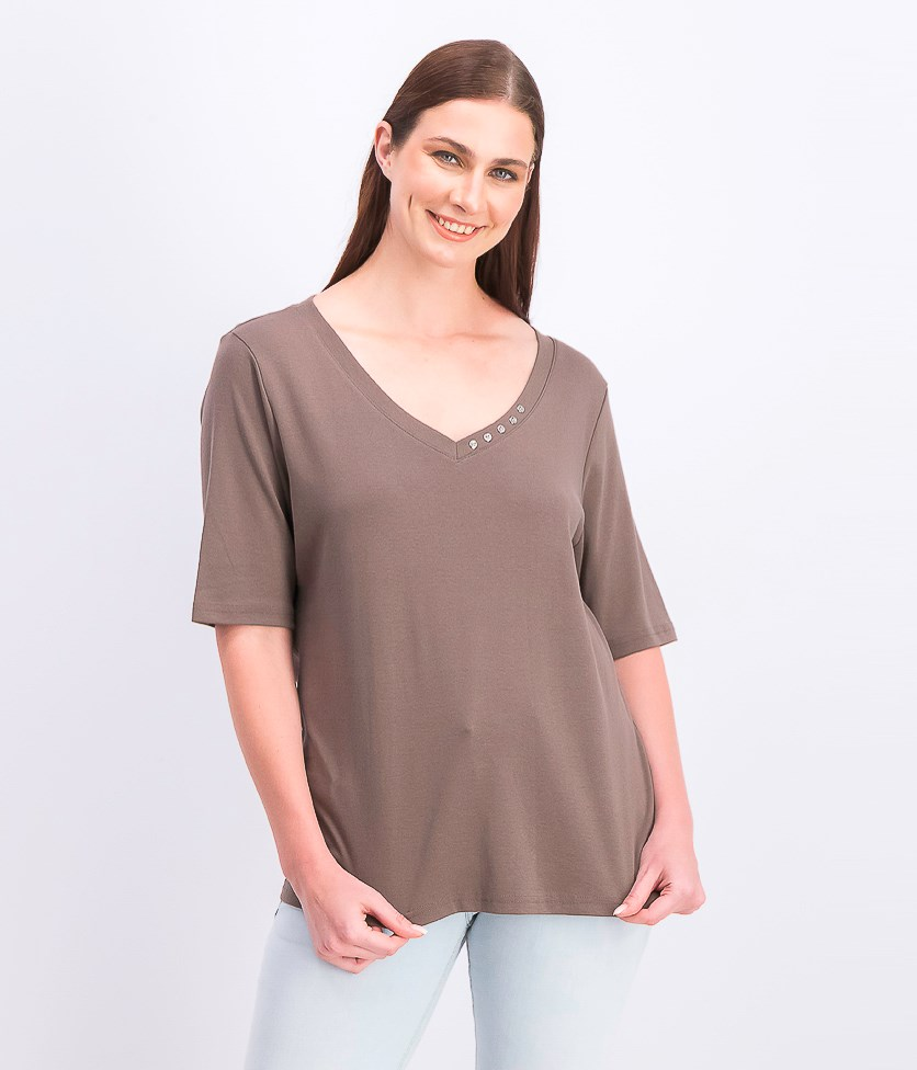 Womens Cotton Rhinestone-Neck T-Shirt, Brown Clay