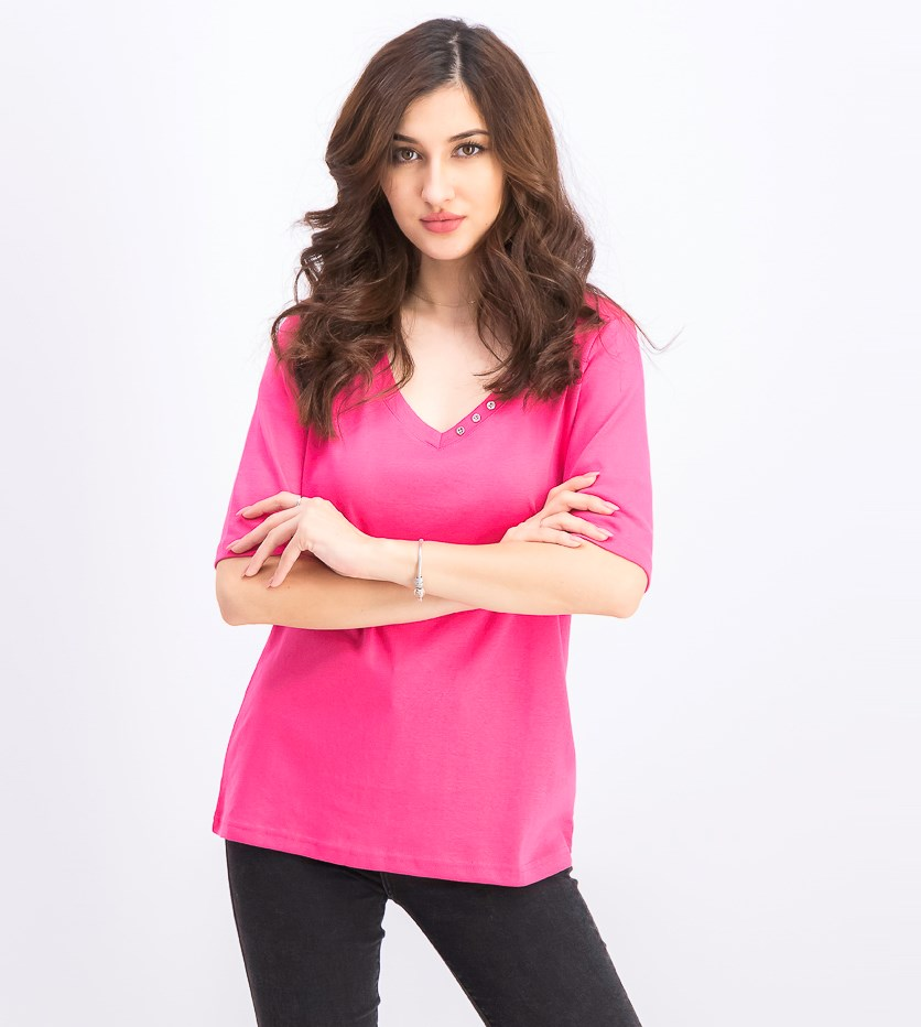 Women's Elbow Sleeve Cotton V-neck T-shirt, Steel Rose