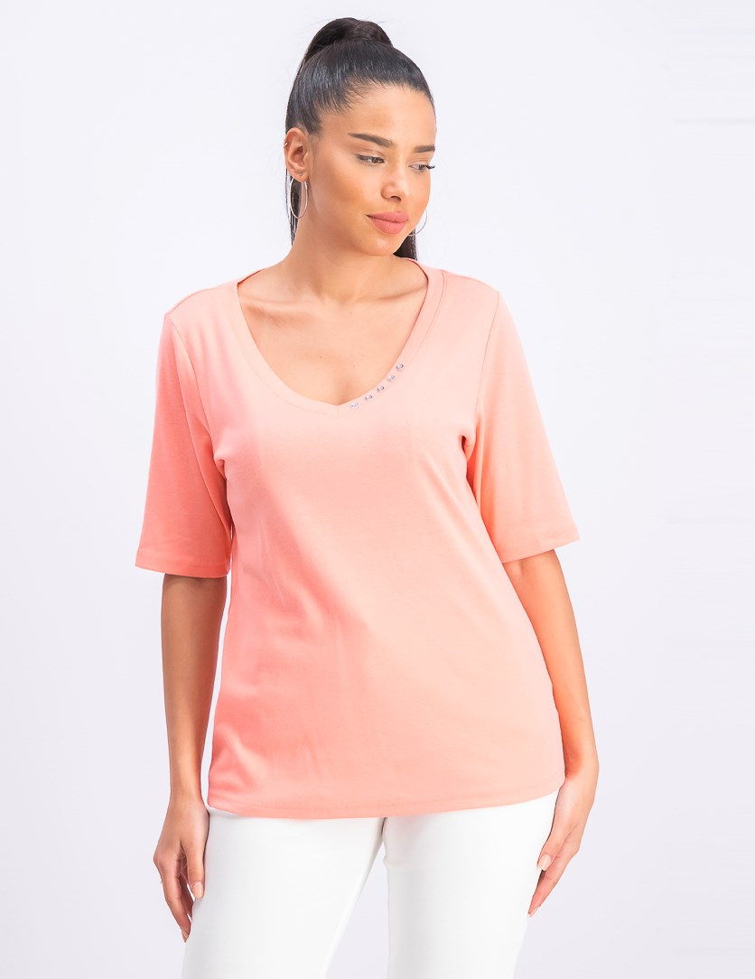 Women's  Cotton Rhinestone-Neck T-Shirt, Coral Lining