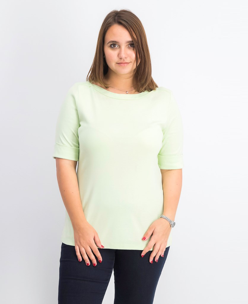 Women's Cotton Elbow-Sleeve Top, Calm Aloe