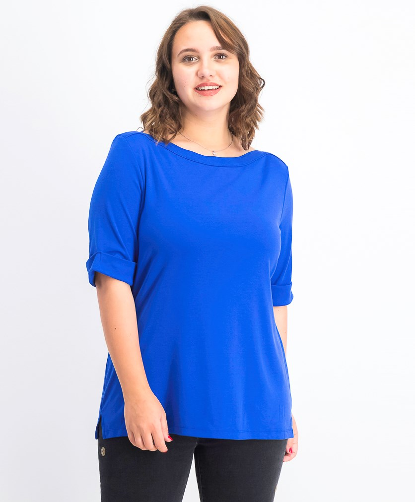 Women's Cotton Elbow-Sleeve Top, Ultra Blue