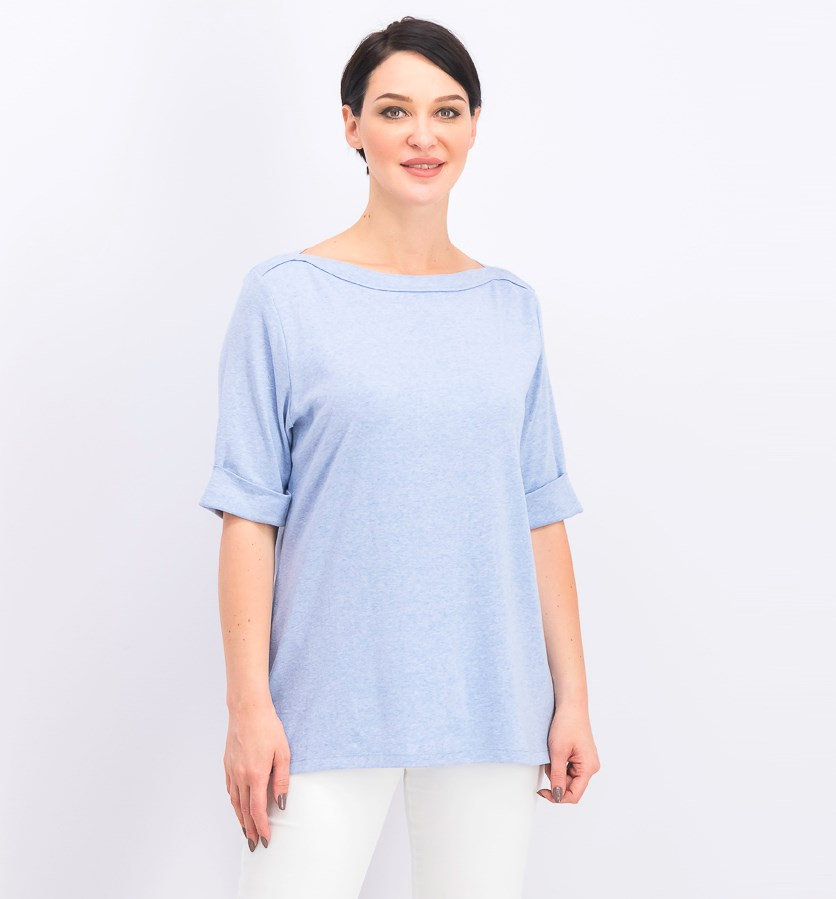Women's Cotton Elbow-Sleeve Top, Blue Heather
