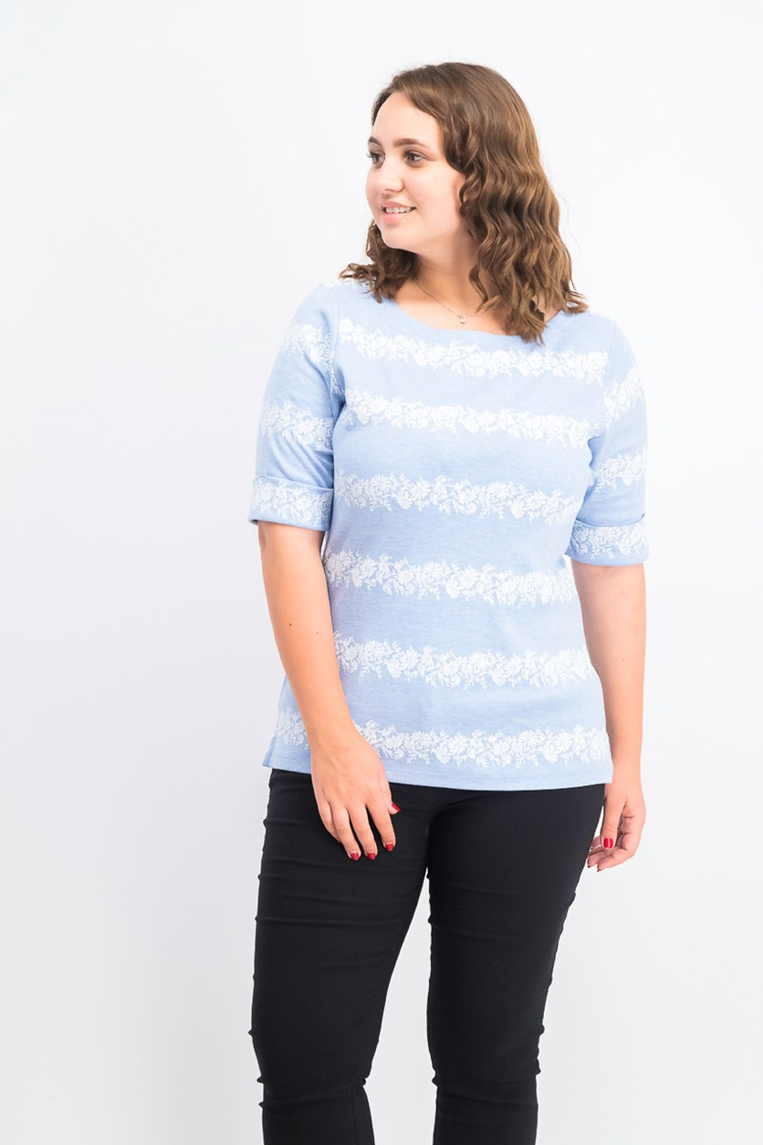 Women's Floral-Striped Boat-Neck Top, Blue Heather