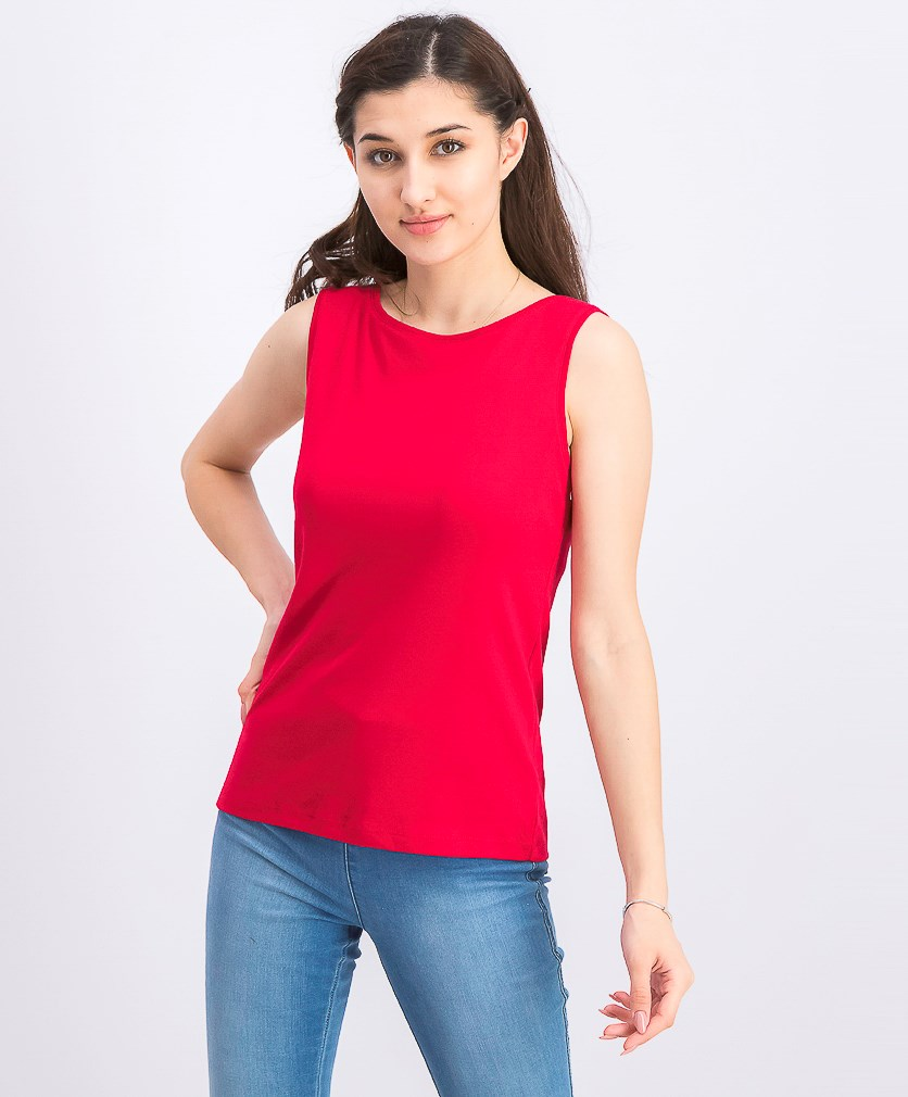Petite Cotton Boat-Neck Top, Red Amore