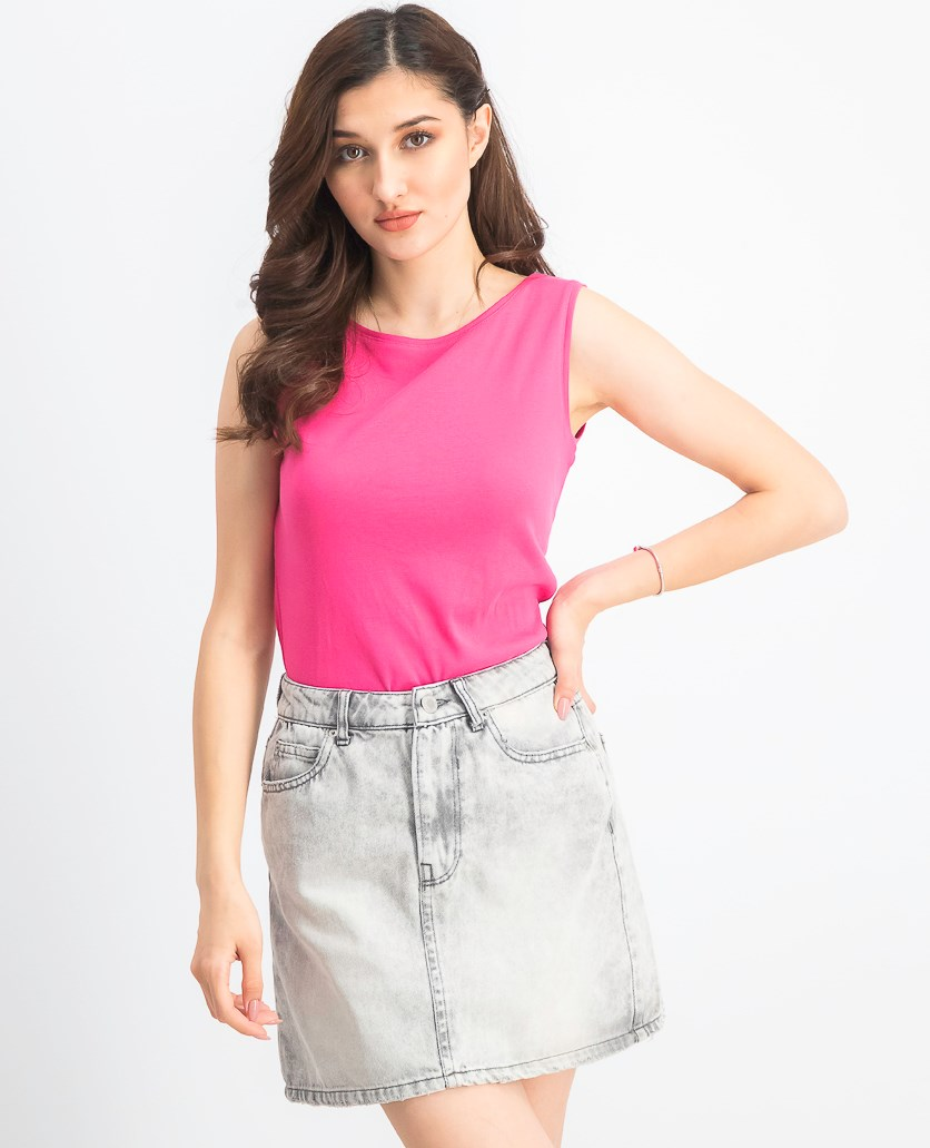Women's Petite Cotton Boat-Neck Top, Steel Rose