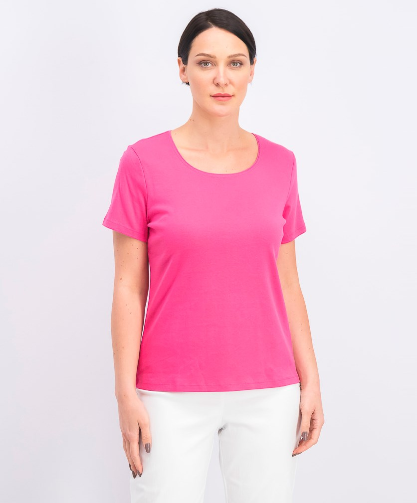 Women's Scoop Neck Short Sleeve Top, Steel Rose