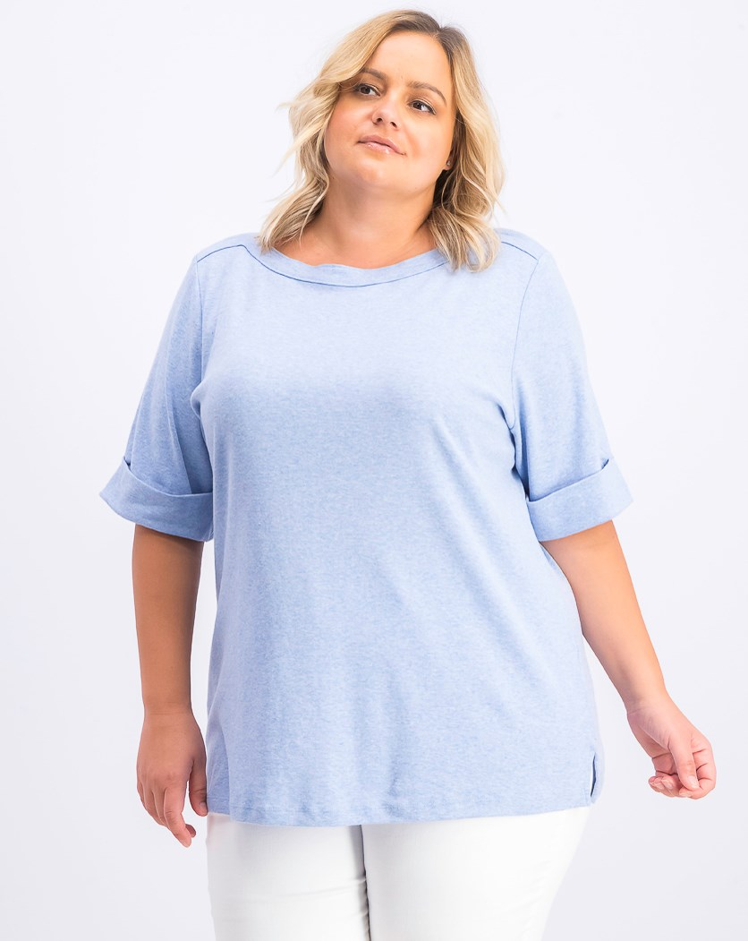 Women's Plus Size Boatneck Top, Light Blue Heather