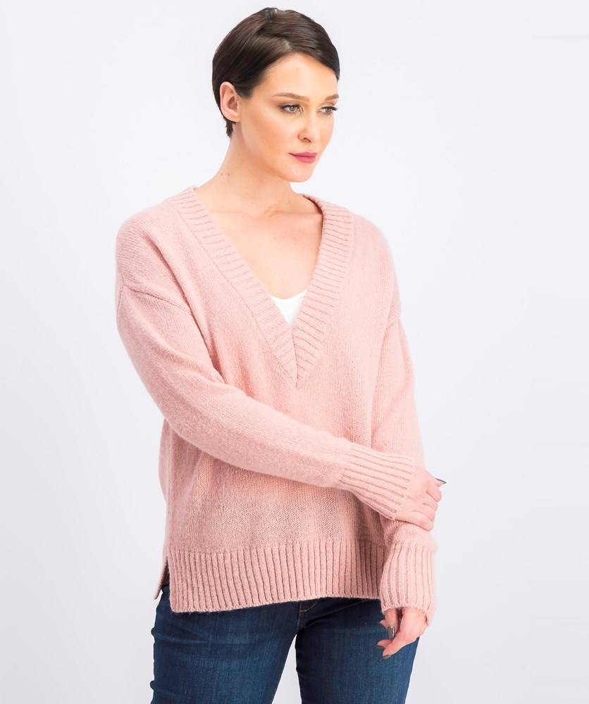 Women's V-Neck Ribbed Sweater, Deco Mauve