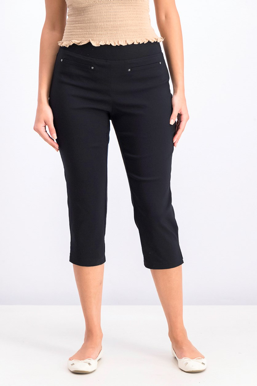Womens Petite Pull-on Capri Pants, Black