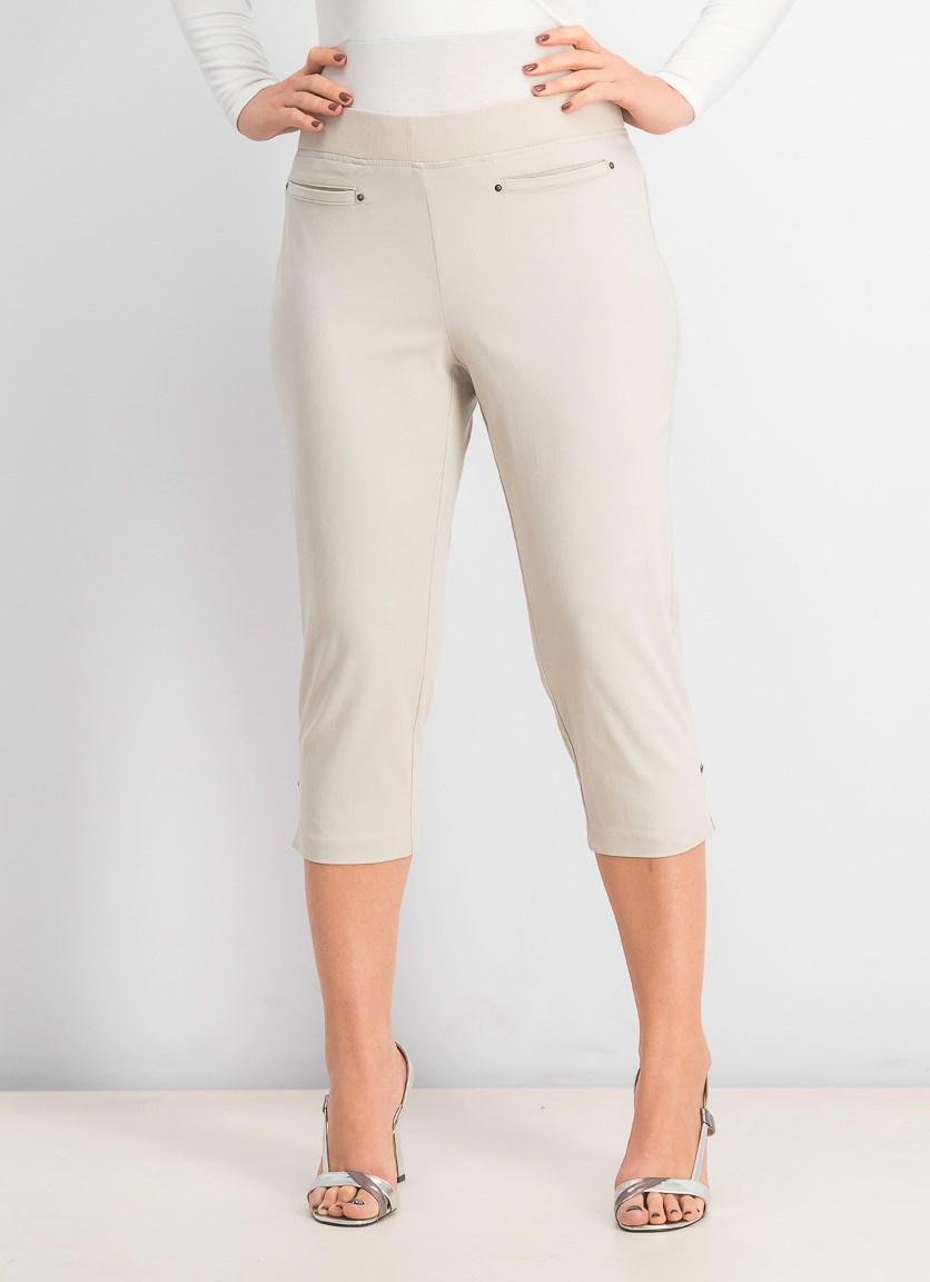 Petite Pull-on Capri Pants, Stone Wall
