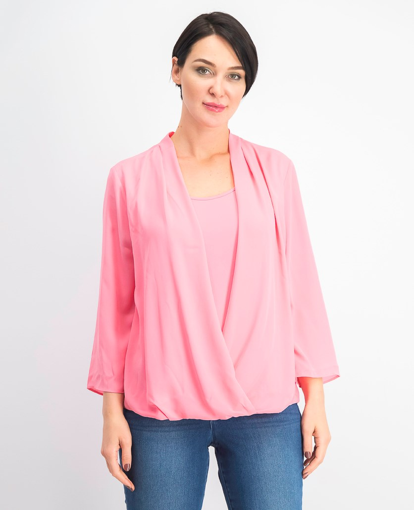 Women's  Surplice Top, Pink Gemstone
