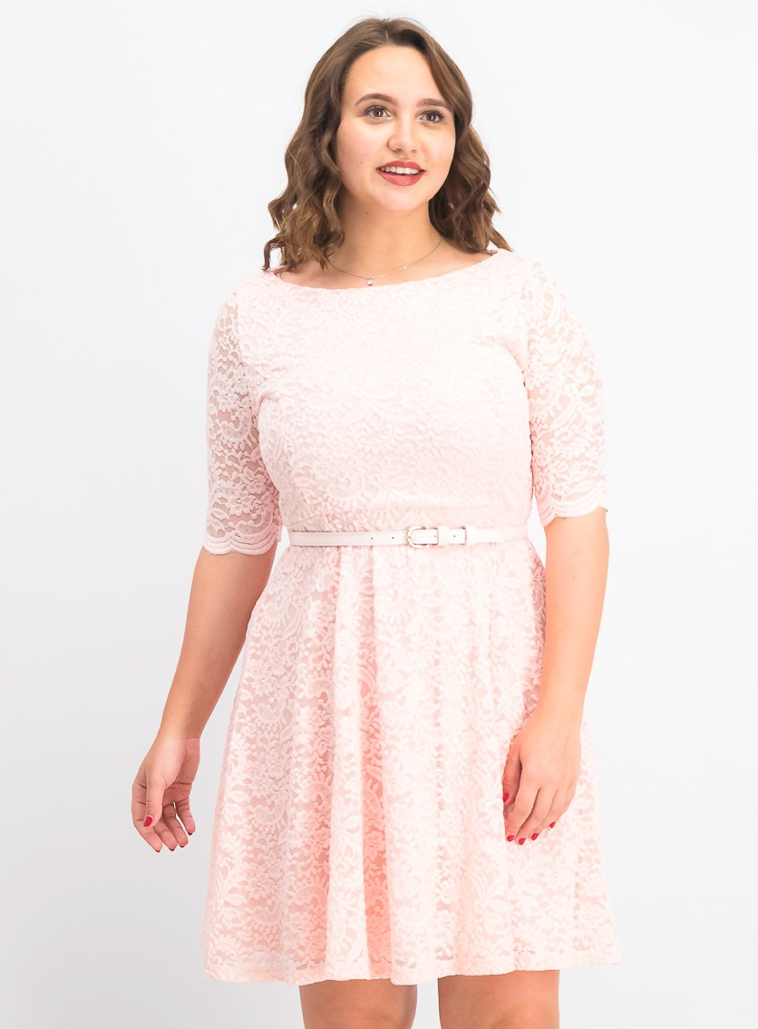 Women's Petite Belted Lace Dress, Misty Pink