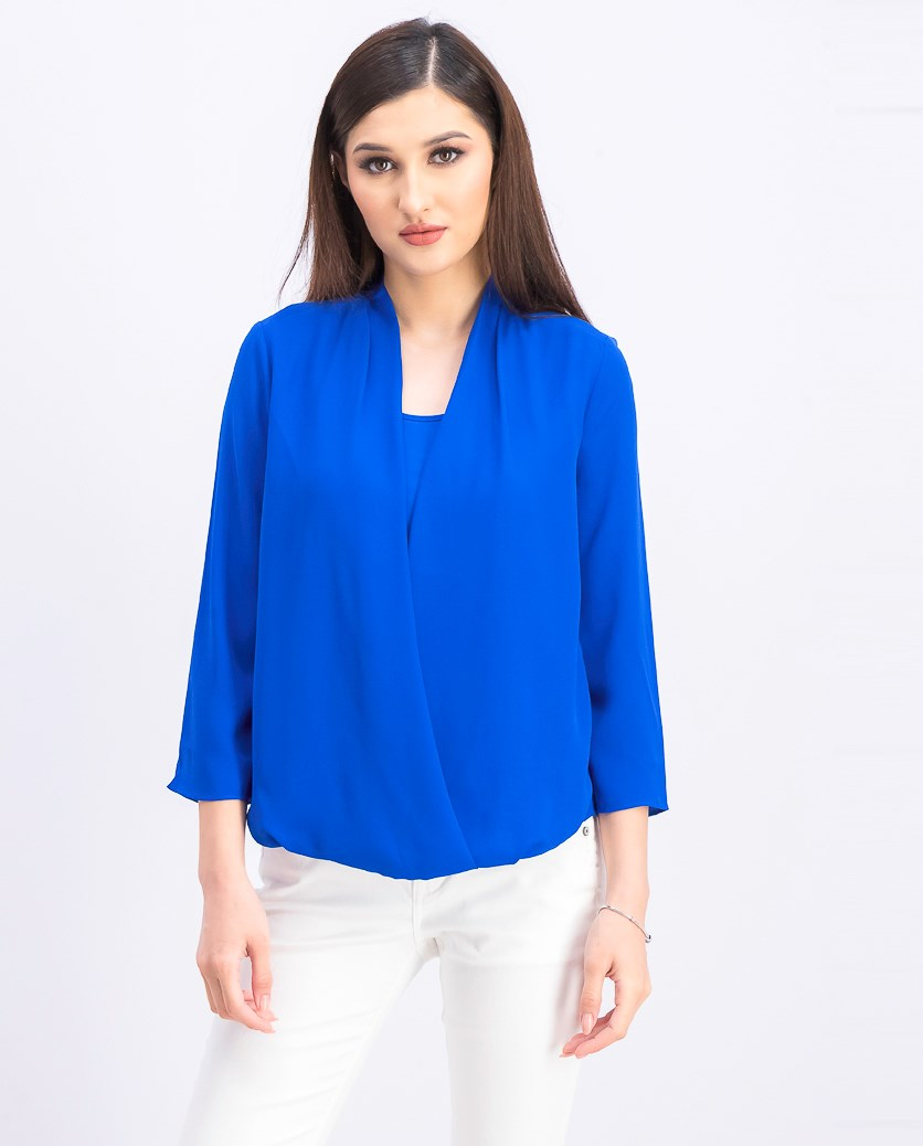 Women's Petite Surplice Top, Blue