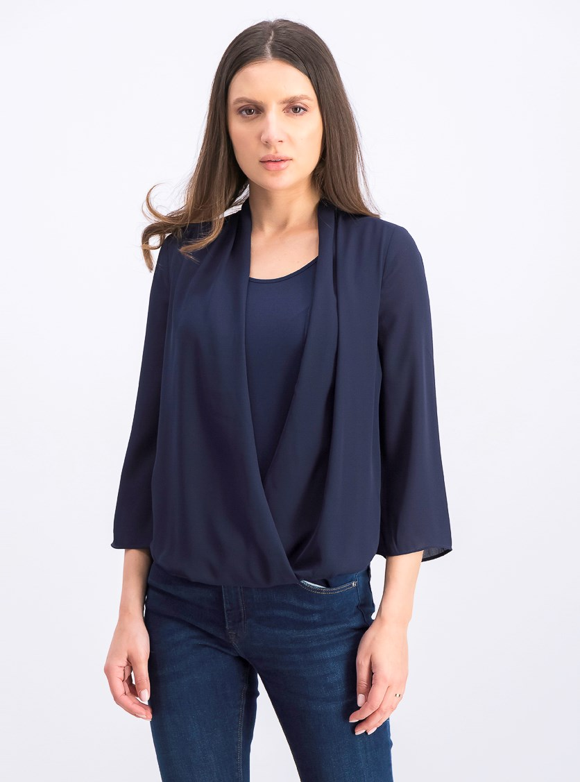 Women's Petite Surplice Top, Intrepid Blue