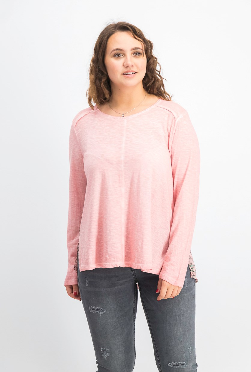 Women's Print-Back Scoop-Neck Top, Pink Vine Delight