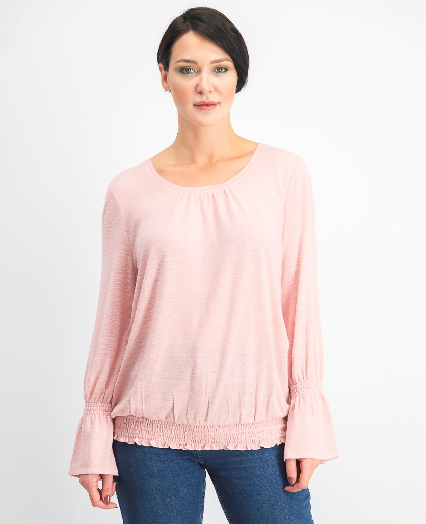 Women's Smocked-Hem Top, Hibiscus