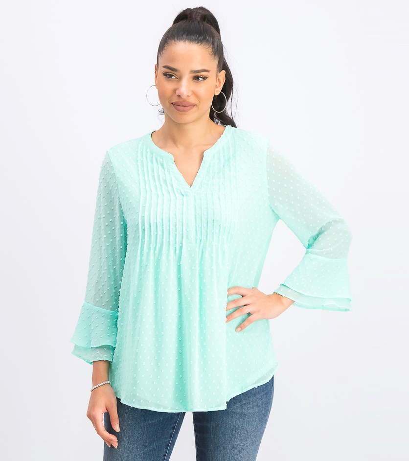 Women's Double-Ruffle Textured Pintuck Top, Aqua Gloss