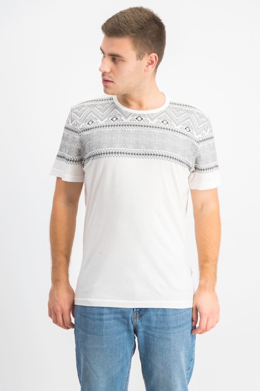 Mens Geometric Print T-Shirt, White Pure